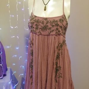 Free People Embroidered Babydoll Slip